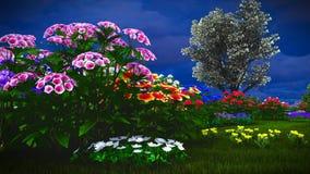 Wildflowers d'été sur le rendu du pré 3d Photos stock