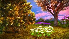 Wildflowers d'été sur le rendu du pré 3d Image stock