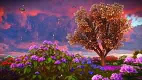 Wildflowers d'été sur le rendu du pré 3d Photographie stock libre de droits