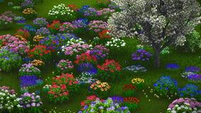 Wildflowers d'été sur le rendu du pré 3d Photo libre de droits