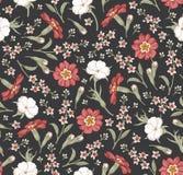 Wildflowers d'annata isolati realistici del Croton della primaverina del agrostemma del fondo dei fiori del modello senza cucitur illustrazione di stock