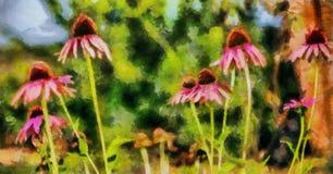 Wildflowers della pittura a olio su un'estate Fotografia Stock Libera da Diritti