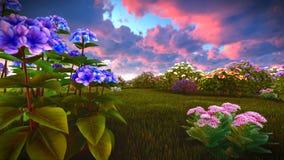 Wildflowers do verão na rendição do prado 3d Imagens de Stock