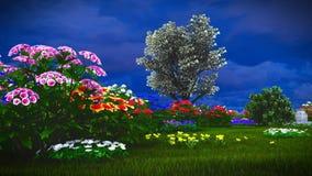 Wildflowers do verão na rendição do prado 3d Foto de Stock Royalty Free