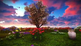 Wildflowers do verão na rendição do prado 3d Fotografia de Stock Royalty Free