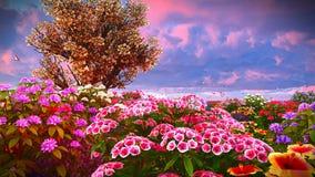 Wildflowers do verão na rendição do prado 3d Imagens de Stock Royalty Free