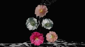 Wildflowers door water wordt omringd dat stock video