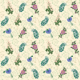 Wildflowers drawn pattern background. Lily of the valley, cornflower. Wildflowers drawn pattern background lily of the valley cornflower pink blue green Royalty Free Stock Image
