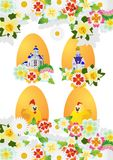Wildflowers and Easter eggs Royalty Free Stock Photography