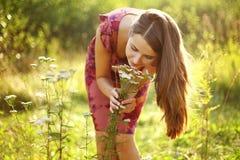 Wildflowers el oler de la muchacha Foto de archivo libre de regalías
