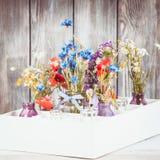 Wildflowers en botellas imagenes de archivo