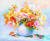 Wildflowers en el florero, pintura al óleo Foto de archivo libre de regalías