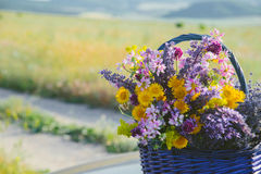 Wildflowers im Korb Ein Blumenstrauß von verschiedenen Blumen im Korb auf einem Feldweg getont Lizenzfreie Stockfotos