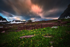 Wildflowers and motion clouds at Glacier National Park Stock Photo