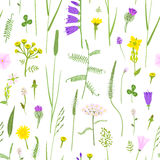 Wildflowers in the naive style, seamless  pattern, eps10. Stock Photos