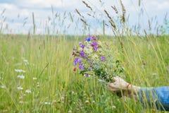 Wildflowers nelle palme della ragazza su fondo del prato di estate con il cielo Concetto delle stagioni, ambientale e dell'ecolog Immagini Stock Libere da Diritti