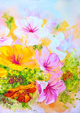 Wildflowers, oil painting Royalty Free Stock Image