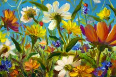 Red, yellow, blue, purple abstract flowers illustration. Macro impasto painting. Palette knife artwork. Impressionism. Art. Wildflowers - Original oil painting stock photography