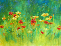Wildflowers Painting. A vibrant pastel painting of a batch of wildflowers vector illustration