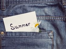 Wildflowers and paper note with the word SUMMER. Wildflowers, paper note with the word SUMMER on the background of a jeans pocket. Close-up, top view. Beautiful stock photography