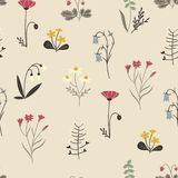 Wildflowers Pattern. Cute Seamless Pattern with Flower. Stock Image