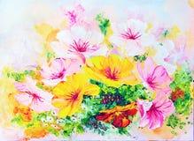 Wildflowers, pintura al óleo Fotografía de archivo libre de regalías