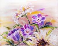 Wildflowers, pittura a olio illustrazione vettoriale
