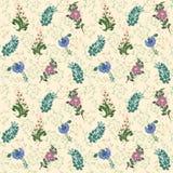 Wildflowers rysujący deseniowy tło Leluja dolina, chabrowa Obraz Royalty Free