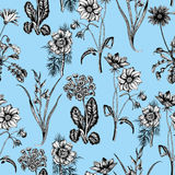 Wildflowers. Seamless  background. Background for fabric, wallpaper and much more. Stock Photo