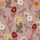 Wildflowers. Seamless  background. Background for fabric, wallpaper and much more. Royalty Free Stock Image