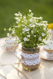 Wildflowers on the table. Outddor Royalty Free Stock Photography