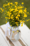 Wildflowers on the table. Outddor Royalty Free Stock Image