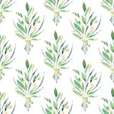 Wildflowers. Watercolor floral seamless pattern. Wildflowers. Watercolor green floral pattern Stock Photos