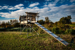 Wildfowling platform. Platform used for shooting wildfowl in the English Fens Stock Photo