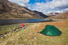 Wilding camping at Barrisdale Bay Royalty Free Stock Images