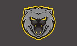 Wildkatz esport iconic logo unique. Angry looking wildcat mascot animal logo esport or gaming team Royalty Free Stock Photos
