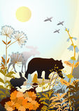 Wildlife. Silhouettes of wild animals and birds, meadow flowers and grasses Royalty Free Stock Image