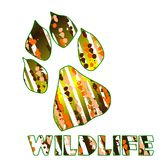 Wildlife. Image with the imprint of a cat and the word wildlife Royalty Free Stock Photo