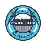 Wildlife adventures vintage isolated badge. Summer camp symbol, mountain and forest explorer, touristic camping label, nature recreation illustration Stock Images