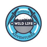 Wildlife adventures vintage isolated badge. Summer camp symbol, mountain and forest explorer, touristic camping label, nature recreation vector illustration Royalty Free Stock Photos