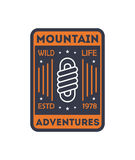 Wildlife adventures vintage isolated badge. Outdoor explorer sign, touristic camping label, nature expedition vector illustration Royalty Free Stock Image