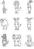 Wildlife Animal Set. Set of 9 wildlife animals - black and white Royalty Free Stock Images