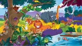 Wildlife animal and their habbits stock illustration
