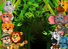 Wildlife Animals in Bamboo Trees Forest Cartoon