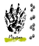 Silhouettes of traces of wild animals. Traces of a marten. Vector illustration Royalty Free Stock Photos