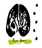 Silhouettes of traces of wild animals. Traces of a roe deer. Vector illustration Royalty Free Stock Photo