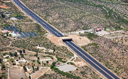 Wildlife Bridge. Aerial view of the Wildlife Bridge that spans State Route 77 near Tucson, Arizona Royalty Free Stock Photography