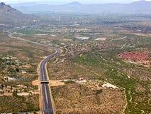 Wildlife Bridge. Aerial view of the Wildlife Bridge that spans State Route 77 near Tucson, Arizona Stock Photos