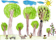 Wildlife, childlike drawing. Green forest wildlife, childlike drawing Royalty Free Stock Photos