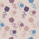 Wildlife Colored Flowers Background. Vector background wildlife, colorful flowers Stock Image